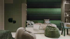 зеленый интерьер детской комнаты
