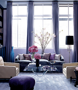 фиолетовый цвет в интерьере дома